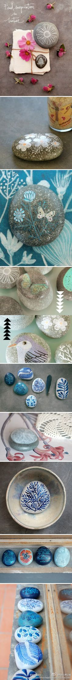 hand painting stones #crafts. These are so pretty. I have absolutely no excuse for not making these.