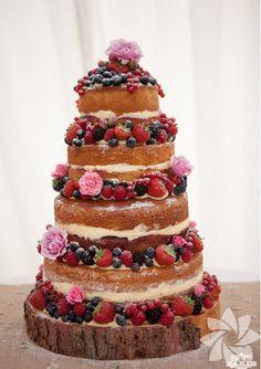 Victoria sponge tiered cake with fresh fruit decoration How To Make Wedding Cake, Fruit Wedding Cake, Diy Wedding Cake, Wedding Cake Decorations, Wedding Cake Designs, Rustic Wedding, Berry Wedding, Pretty Cakes, Beautiful Cakes