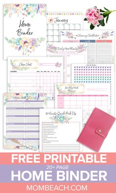 Do you want your home clean and organized? Then, check out this free page Home Binder right away. It has free printable cleaning worksheets, a home project planner, a home maintenance planner, fre To Do Planner, Family Planner, Project Planner, College Planner, College Tips, Daily Planner Free, Free Daily Planner Printables, Bullet Journal Free Printables, Free Meal Planner