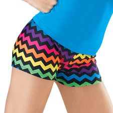 A bright multicolored chevron print livens up these basic dance shorts. #rainbow #bright #bootyshorts