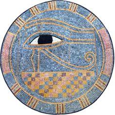"The Eye of Horus - Egyptian ""Sound Eye"" Mosaic Medallion Mosaic Designs, Mosaic Patterns, Pattern Art, Geometric Designs, Egyptian Mythology, Ancient Egyptian Art, Egyptian Eye, Marble Mosaic, Mosaic Art"