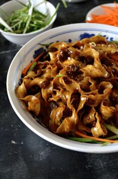 "Beijing ""Fried Sauce"" Noodles – Zha Jiang Mian Zha Jiang Mian (炸酱面), or Fried Sauce Noodles is so famous in China that the mere mention of it makes people think of Beijing. It's sold everywhere—from street vendors to restaurants in five star hotels. Wok Sauce, Asian Recipes, Healthy Recipes, Indonesian Recipes, Orange Recipes, Yummy Recipes, Asian Cooking, Pasta Dishes, Food Porn"