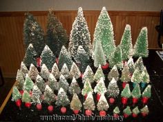 50 ANTIQUE Bottle Brush Christmas Trees Mica Ends Red Wood Bases