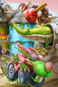 render of Playsets and car of Trash Wheels series from Moose Toys, Australia Children's Book Illustration, Digital Illustration, Lsd Art, Sketch Manga, Creepy Monster, Moose Toys, Design Digital, Funny Iphone Wallpaper, Graffiti