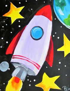 Kids Canvas Art, Small Canvas Paintings, Easy Canvas Painting, Painting For Kids, Art Drawings For Kids, Drawing For Kids, Cute Drawings, Art For Kids, Rocket Drawing