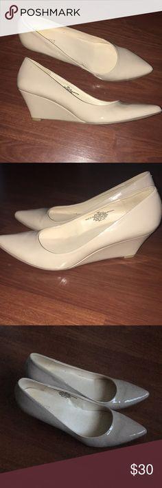 Nine West nude wedge heel Brand new Nine West nude patent leather pointy toe heel, heel has a wedge. Very comfortable Nine West Shoes Heels