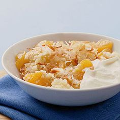 Peach Macaroon Cobbler Warm baked peaches and a coconut-filled topping make this dessert a treat for the eyes as well as the taste buds.