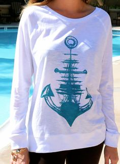 Sailboat & Anchor Nautical Print // Women's Lightweight Longsleeve // Anchor and Ship Screenprint Summer Shirt   by SargentIllustration, $40.00