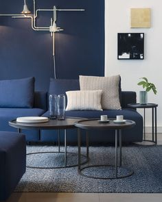 navy blue living room color scheme - Internal Home Design Beautiful Living Rooms, Living Room Modern, Living Room Interior, Small Living, Cozy Living, House Beautiful, Living Area, Navy Blue Living Room, Blue Rooms