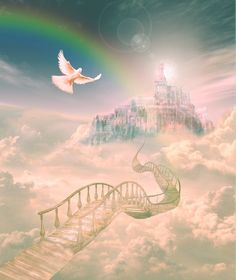Just this side of heaven is a place called Rainbow Bridge. When an animal dies that has been especially close to someone here, that pet goes to Rainbow . Fantasy Landscape, Fantasy Art, Fantasy Castle, Heaven Painting, Heaven Pictures, Pet Loss Grief, Prophetic Art, Stairway To Heaven, Rainbow Bridge