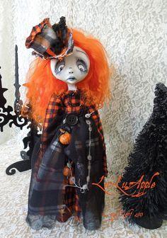 Art Doll Gothic Halloween sad OOAK Ornament Doll Marcelle