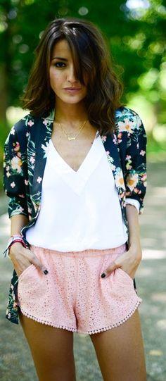 Pink Lace Culotte Shorts