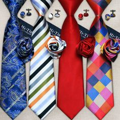 Fashion Cufflink 100% Silk Neckties Set