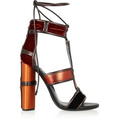 Tom Ford Paneled leather, velvet and satin sandals ($1,315) ❤ liked on Polyvore featuring shoes, sandals, heels, tom ford, footwear, tom ford sandals, brown shoes, high heel sandals, leather heel sandals and lace up shoes