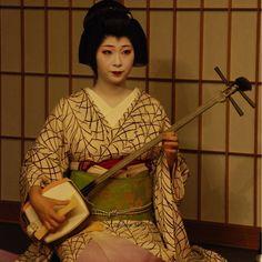 祇園の高級旅館「畑中」さんで三味線演奏を披露する宮川町「高よし」さん所属の芸妓、田ね文(たねふみ)さん