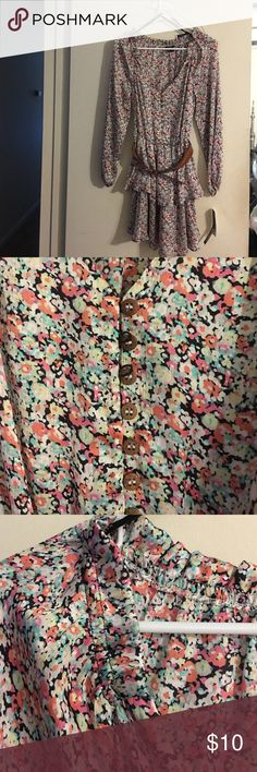 XOXO woman's dress Small multi colored flower pattern.  Cognac belt attached.  Elasticize wrist with ruffled bottom. New with tag.  Never worn.  Can also be worn off the shoulders.  Please feel free to comment with questions. XOXO Dresses Mini