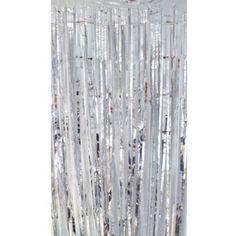 Partyrama - Tenda decorativa per feste, con fili metallizzati, ca. 91 x 244 cm, 1 pezzo, argento