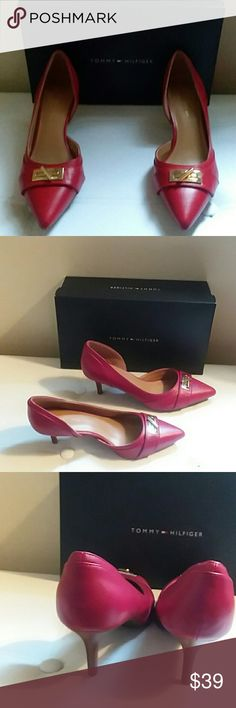 """TOMMY HILFIGER JOETTA PUMPS, SIZE 8-1/2"""" M PLEASE FEEL FREE TO ASK QUESTIONS BEFORE  PURCHASE   NWB, NEVER WORN  MFG. COLOR: DARK RED  GOLD TURNLOCK POINTED TOE  2-1/2"""" HEEL  MAN MADE MATERIAL (SEE INSIDE OF RIGHT SHOE) TOMMY HILFIGER Shoes"""