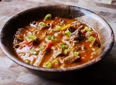 Beef Tongue Creole- I'll use real tomatoes, never, ever canned- the acid of the tomatoes makes canned likely to be contaminated by the lining of the can