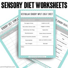 Sensory Diet Worksheets for Families
