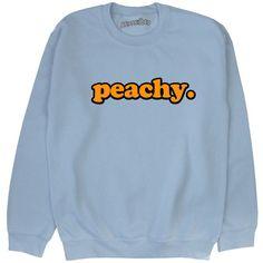 Peachy Sweatshirt Unisex Kawaii Grunge Pastel Pink Blue Yellow Tumblr... ($23) ❤ liked on Polyvore featuring tops, hoodies, sweatshirts, sweaters, jumper, black, women's clothing, pink top, grunge tops and blue sweatshirt