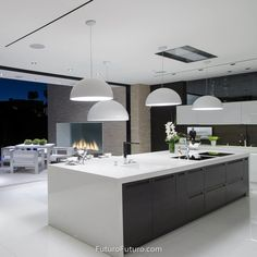 Futuro Futuro's Skylight Ceiling/Soffit Range Hood provides a whole room filtration system to keep the focus of your kitchen on your great cooking. Open Plan Kitchen Living Room, Kitchen Design Open, Home Decor Kitchen, Interior Design Kitchen, Kitchen With High Ceilings, Kitchen Ventilation, Modern Kitchen Interiors, Cuisines Design, Küchen Design