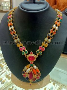 Jewellery Designs: Navaratan Stone Double Layer Necklace