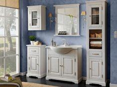 Keramik-Waschbecken 65 cm, Massivholz, B x H x T ca.: 185 x 200 for bathroom vanity double sinks Badmöbel Set inkl.Keramik-Waschbecken 65 cm, Massivholz, B x H x T ca.: 185 x 200 Bathroom Furniture, Bathroom Interior, Furniture Sets, Ceramic Furniture, Bathroom Radiators, Bathroom Niche, Small Bathroom, Single Vanity Units, Under Sink Storage Unit