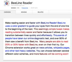 "superheronamesforspoonies:Here's a thing that is helpful and free! It's a plugin that uses a dyslexic-friendly font and color coding to make reading easier for everyone, but especially for those of us with dyslexia, ADHD, or other learning disabilities. Above text reads: ""Make reading easier and faster with BeeLine Reader! BeeLine uses a color gradient to guide your eyes from the end of one line to the beginning of the next. This seemingly simple tweak makes reading substantially easier and…"
