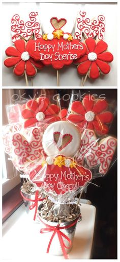 Give mom a cookie bouquet that she'll love...all you need is cookies from your grocer's bakery, lollipop sticks, cellophane and a pot.