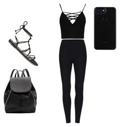 """Black outfit."" by sienarae07rae on Polyvore featuring Boohoo, Rebecca Minkoff and Witchery"