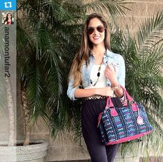 The beautiful Ana Luisa Montúfar with her Maria's Bag made with a huipil from Todos Santos and matching pink leather