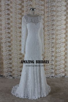 Long sleeve wedding dress long sleeves lace by amazingbridalscom, $288.00
