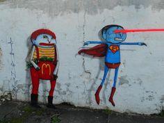 Ronald McDonald and Superman get the #capitalistpig treatment in Brazil.