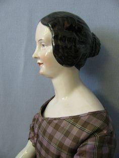 """25"""" Antique China Head KPM Doll Eagle c1840 BROWN Braided Bun HAIR Pink-Tint!!"""