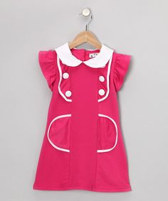 Hot #Pink Sailor #Dress from 2 Crystal Chicks on #zulily #girls #fashion #cute #style