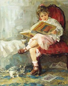 girl reading by Vladimir Gusev Reading Art, Woman Reading, Reading Time, She And Her Cat, People Reading, Children Reading, Art Occidental, Guache, Book Images