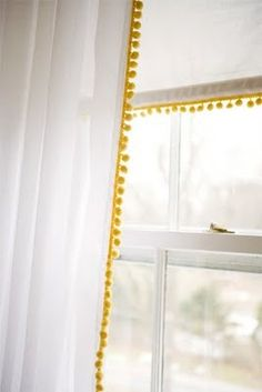 pom pom trim - add to basic curtains for A's new room? Pom Pom Curtains, White Curtains, Plain Curtains, Fringe Curtains, Modern Net Curtains, Yellow Kitchen Curtains, Mustard Yellow Curtains, Patterned Curtains, Layered Curtains