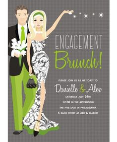 Engagement Party Grey Blonde Invitation