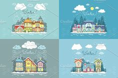 Vector set with winter landscapes by Ola_View on @creativemarket