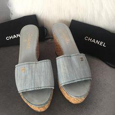 d443ed90680 Chanel Light Blue Denim Cc Raffia Wedge Platform Slip On Sandals (Eu 40)  Mules