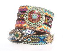 Hippie cuff bracelet - friendship bracelet cuff in neon colours with Swarovski rhinestone crystals - bohemian gypsy jewelry. via Etsy.