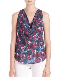 HAUTE HIPPIE Floral-Print Cowlneck Silk Tank. #hautehippie #cloth #tank