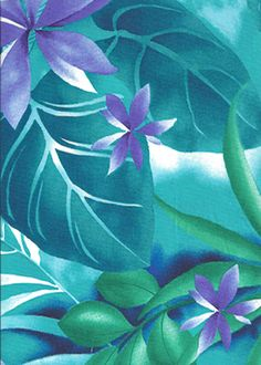 Tropical Botanical Vintage Hawaiian Fabric Stylized flowers, palm fronds, and leaves, apparel cotton, Hawaiian vintage style fabric. Tropical Fabric, Tropical Art, Hawaiian Art, Vintage Hawaiian, Surf, Sea Glass Colors, Flower Quilts, Decoupage, Palm Fronds
