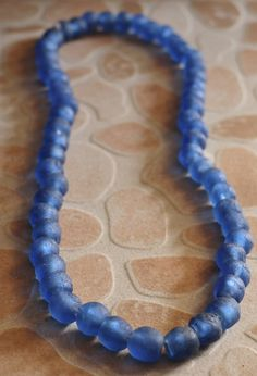 African Glass Beads Recycled Glass Beads Blue by AfrowearHouse