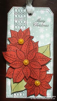 Poinsettia Tag using Designs by Georgina stamp and Hobby House patterned papers.