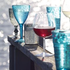 Galloway, Caspian and Dante Glassware - perfect for all your summer drinks Urban Barn, Antique Plates, Summer Drinks, Backyard, Patio, Summer Time, Table Dressing, Colours, House Styles