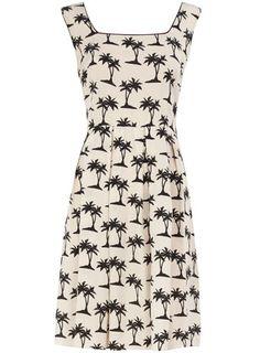 White palm print dress
