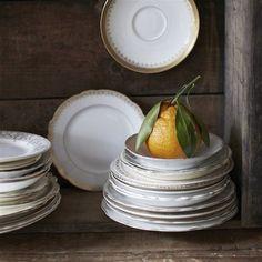 Not Your Grandma's Gold Rim China Set Of 4 #china #dinnerware #dish