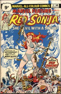 Marvel Feature #4, May 1976. Red Sonja. Artwork cover by Frank Thorne.